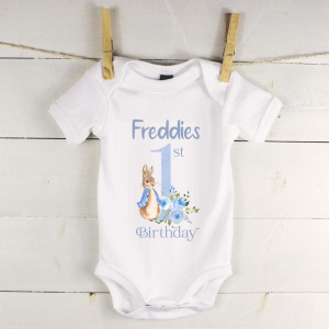 Personalised baby vest with peter rabbit first birthday