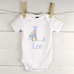 Personalised baby vest with peter rabbit