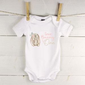 Personalised baby vest with bunny