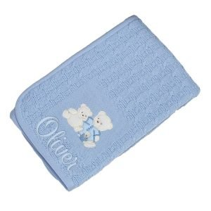Personalised 3 Bears Baby Blue Blanket