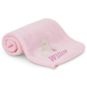 Personalised 3 Bears Baby Pink Blanket