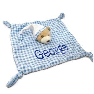 Gingham Baby Bear Blue Comforter