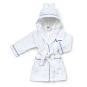 Personalised White & Blue Gingham Baby Girl Dressing Gown