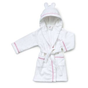 Personalised White & Pink Gingham Baby Girl Dressing Gown