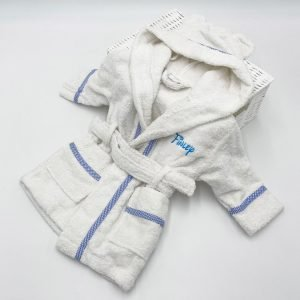Personalised White & Blue Gingham-dressing-gown