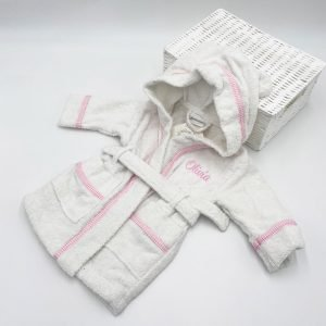 Personalised White & Pink Gingham-dressing-gown