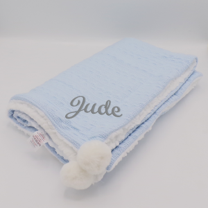 Personalised Baby Blue Sherpa Cable Knit Wrap With Pom Poms