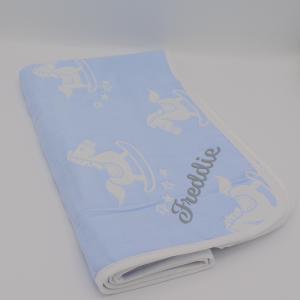 Personalised Baby Blue Rocking Horse Blanket