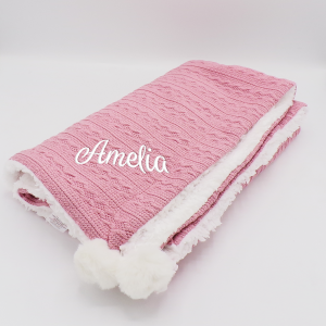 Personalised Dusky Pink Sherpa Cable Knit Wrap With Pom Poms