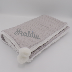 Personalised Grey Sherpa Cable Knit Wrap With Pom Poms