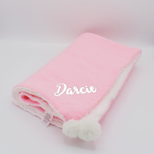Personalised Pink Sherpa Cable Knit Wrap With Pom Poms