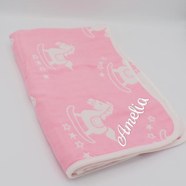 Personalised Pink Rocking Horse Blanket