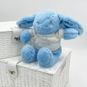 Personalised Blue Bunny Teddy Bear with Sweater