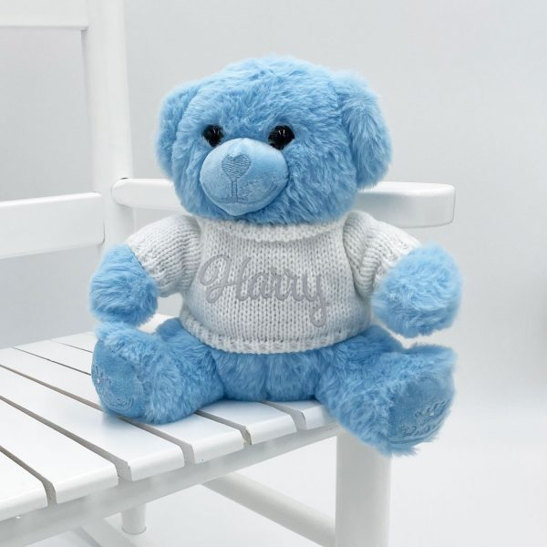 Personalised 20cm Blue Teddy Bear with Sweater