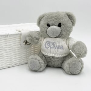 Personalised 20cm Grey Teddy Bear with Sweater