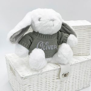 Personalised White Bunny Teddy Bear with Grey Sweater