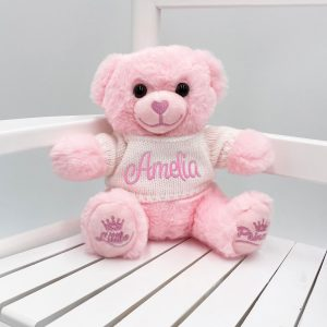 Personalised 20cm Pink Teddy Bear with Sweater