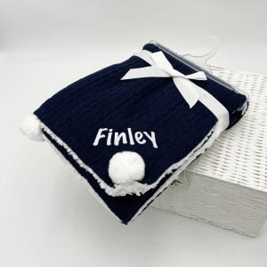 Navy Cable Knit Sherpa Blanket with Pom Poms