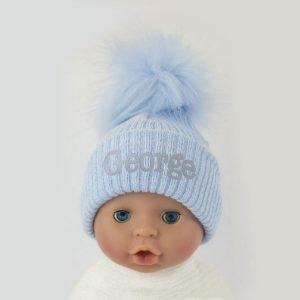 Personalised Baby Blue Single Baby Pom Pom Hat