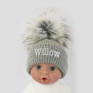 Personalised Grey Single Pom Pom Hat