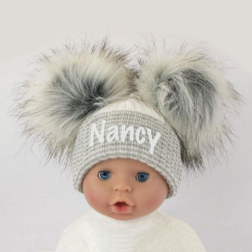 Grey-White-Double-Pom-Pom-Hat