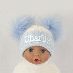 Baby-Blue-White-Double-Pom-Pom-Hat