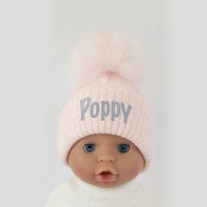 Personalised Pink Single Baby Pom Pom Hat