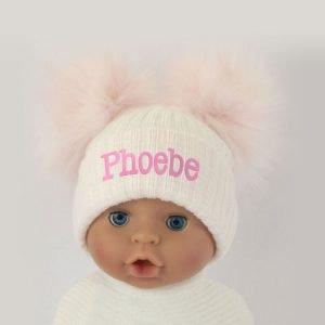 Pink-White-Double-Pom-Pom-Hat