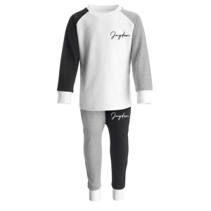 Loungewear Contrast Set-in-BlackGreyWhite with Name
