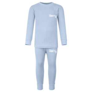Ribbed Loungewear Set - Dusty Blue with Name
