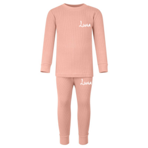 Ribbed Loungewear Set - Dusty Pink with Name