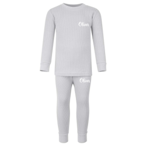 Ribbed Loungewear Set - Frozen Grey with Name