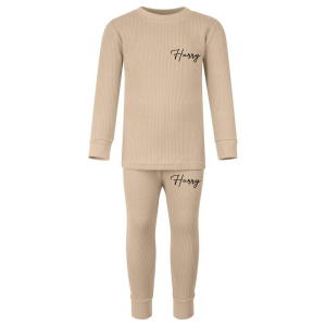 Ribbed Loungewear Set - Warm Taupe with Name