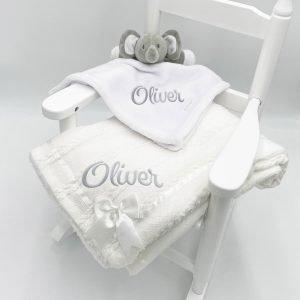 Elephant Gift Set with Bow Blanket