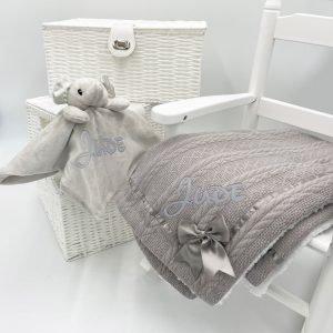 Personalised Elephant Gift Set - Grey