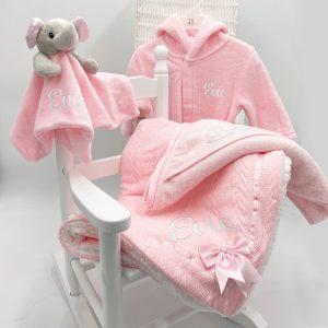 Personalised Baby Girl Bundle Gift Set - Pink